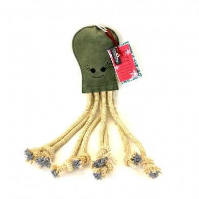 Green & Wilds Olive Octopus Eco Dog Toy - Distinctive Pets