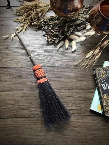 Mini Black and Orange Broom