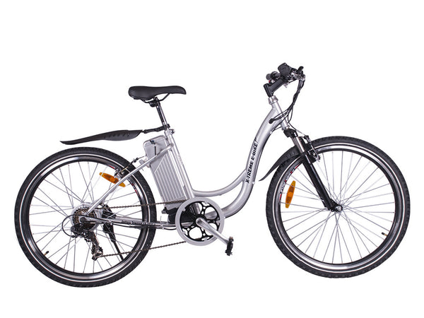 X-Treme SierraTrails Electric Bike Affordable Step Through Pedal Assist/Twist Throttle Mountain Bike