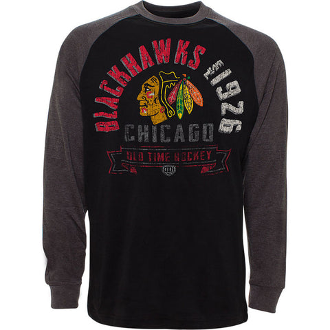 NHL Chicago Blackhawks  Old Time Hockey Cannon Long Sleeve Raglan T-Shirt