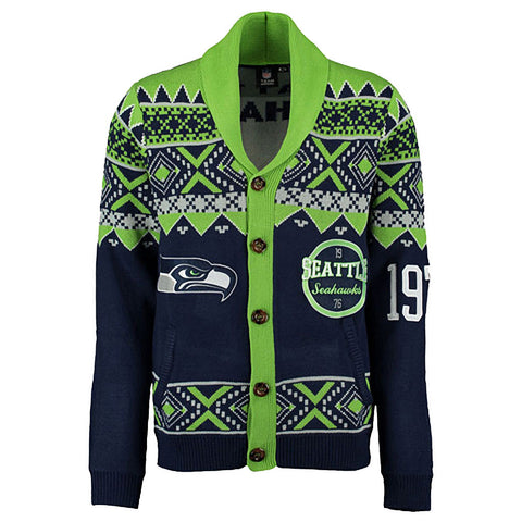 NFL Seattle Seahawks Mens Ugly Christmas Cardigan