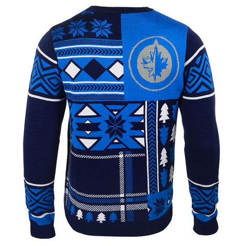 NHL Winnipeg Jets Mens Patchwork Ugly Christmas Sweater
