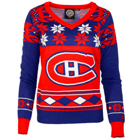 NHL Montreal Canadiens Womens Ugly Christmas V-Neck Sweater