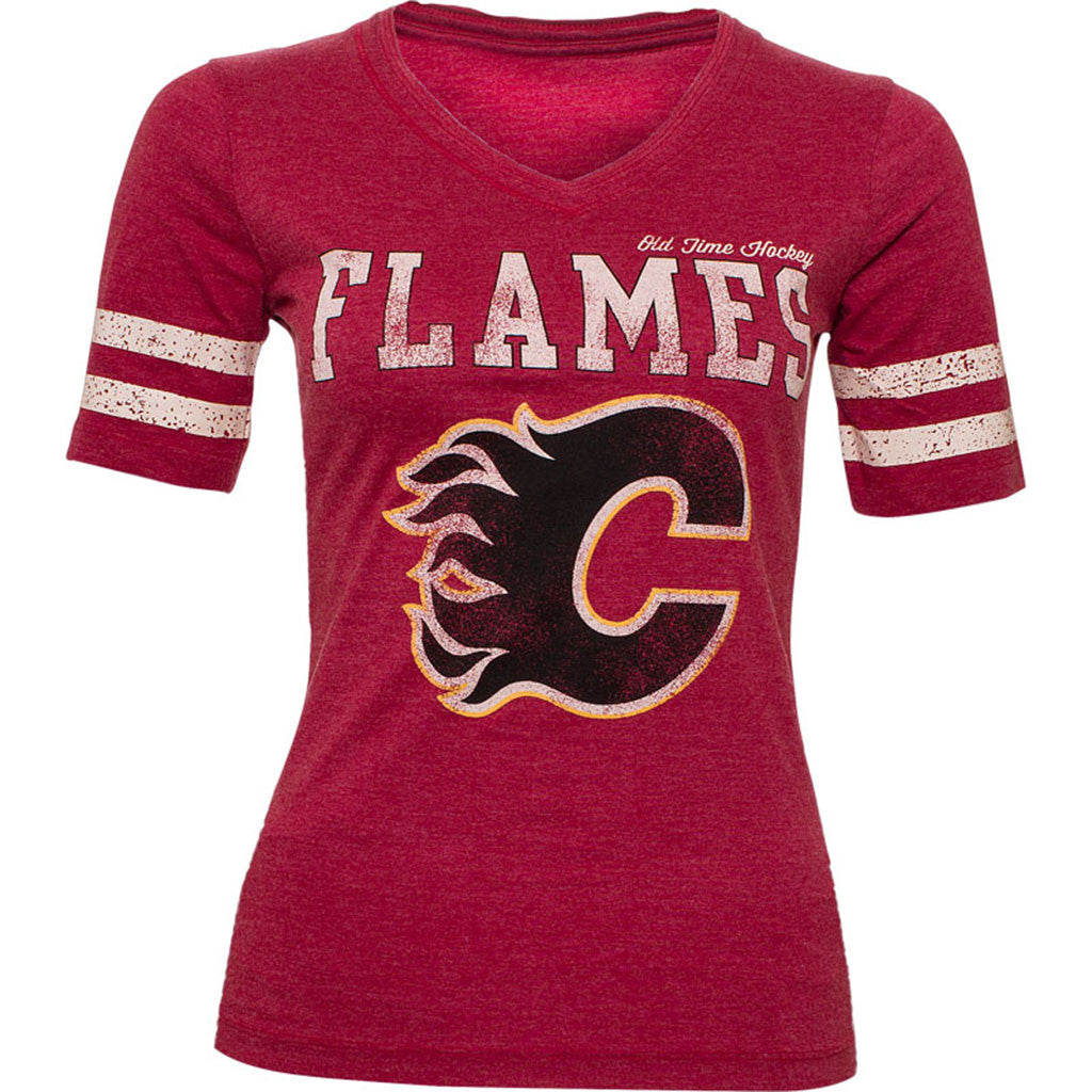 NHL Calgary Flames Old Time Hockey Rosie Womens Short Sleeve T-Shirt