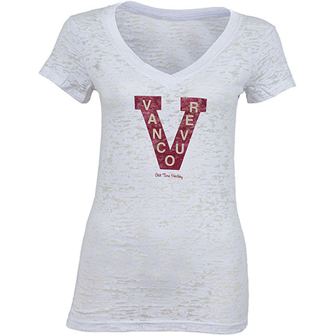 NHL Vancouver Canucks Old Time Hockey Valerie Womens V-Neck Burnout T