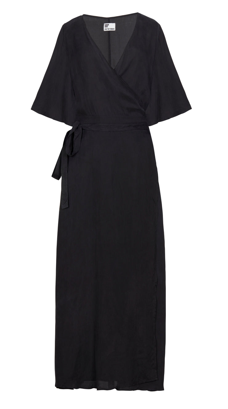 wrap maxi dress black