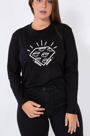 diamond long sleeve t-shirt black