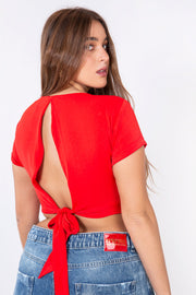 short knot shirt red