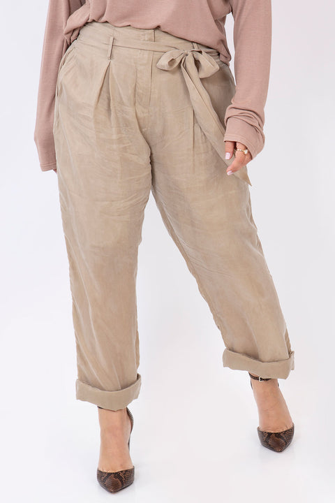 silk knot pants sand