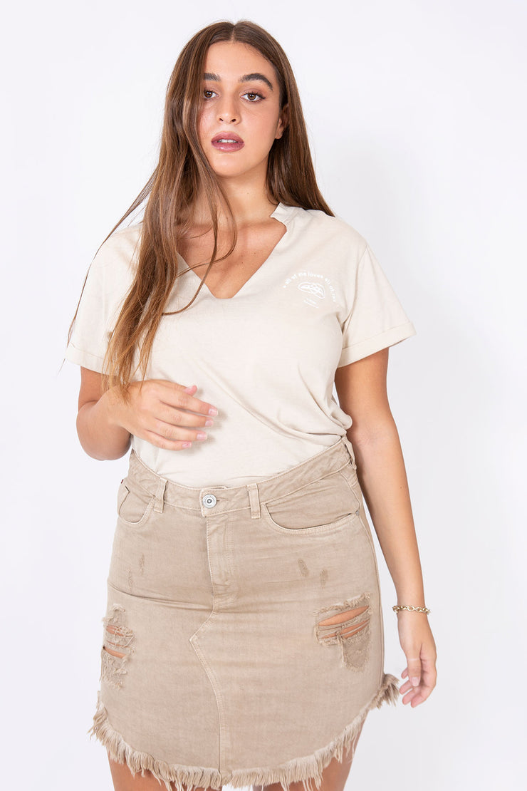 denim mini skirt camel