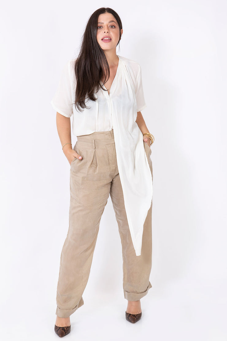 silk knot shirt white