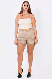 denim shorts camel