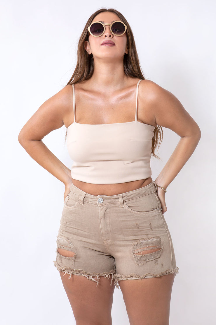 basic crop top sand