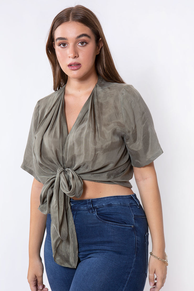 silk knot shirt olive