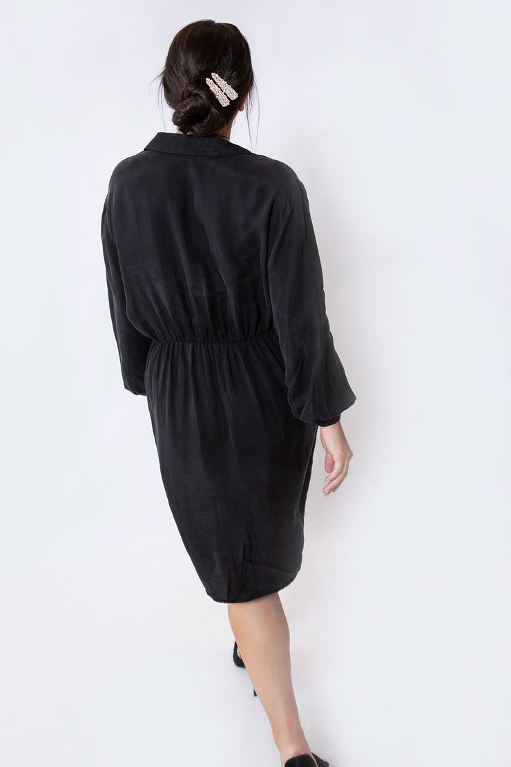 silk mini dress black
