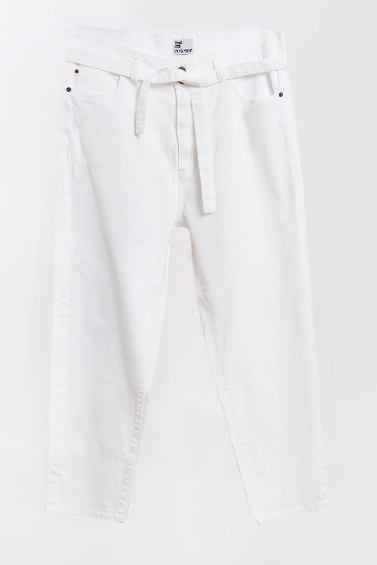 knot jeans white