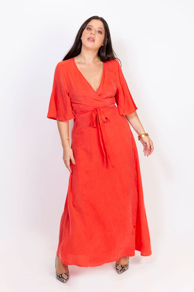 wrap maxi dress coral red