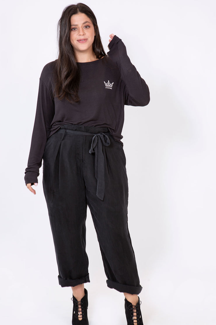 silk knot pants black