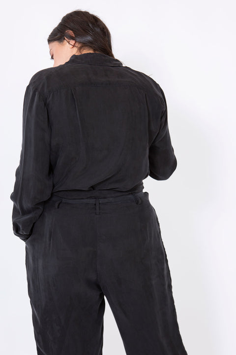 silk buttoned shirt black