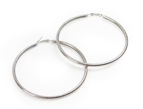 silver hoop earrings large