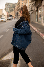 boyfriend denim jacket indigo blue