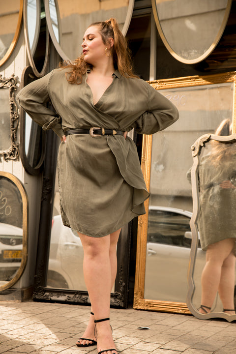 silk mini dress olive