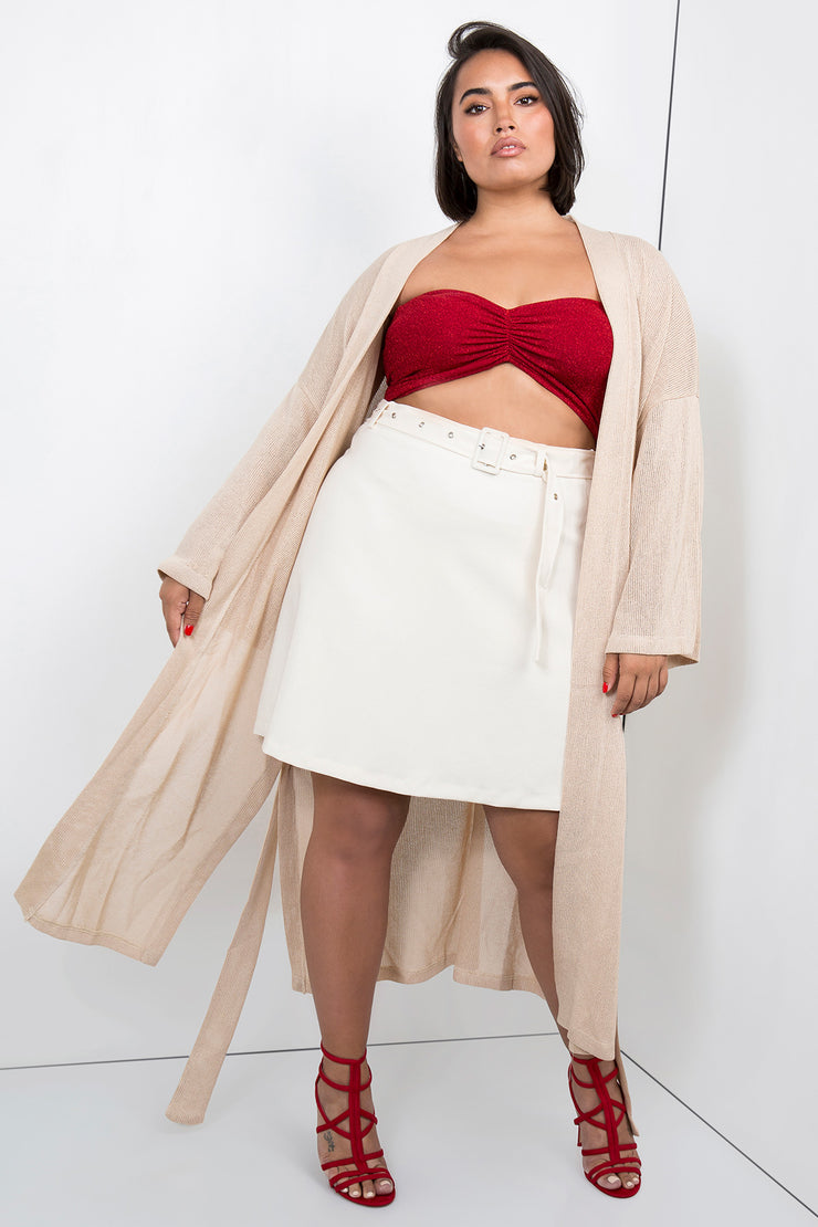 tailored mini skirt cream