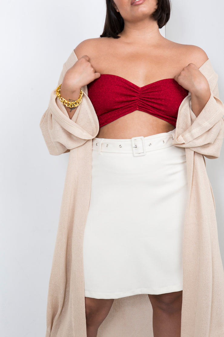 bling strapless red