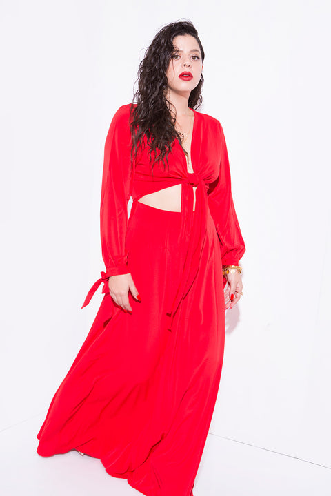knot dress hot red