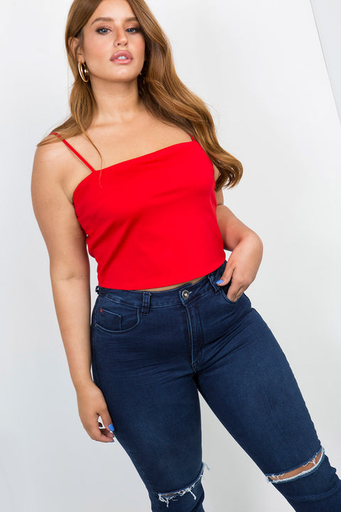 basic crop top red
