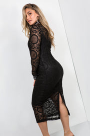 lace midi dress black