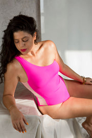 one shoulder swimsuit hot pink