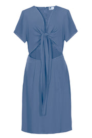 short knot dress blue
