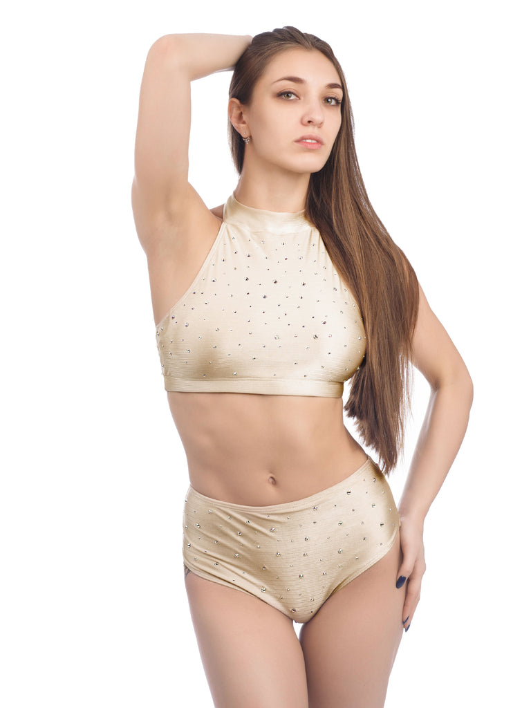 DANCER TOP WITH RHINESTONES BEIGE