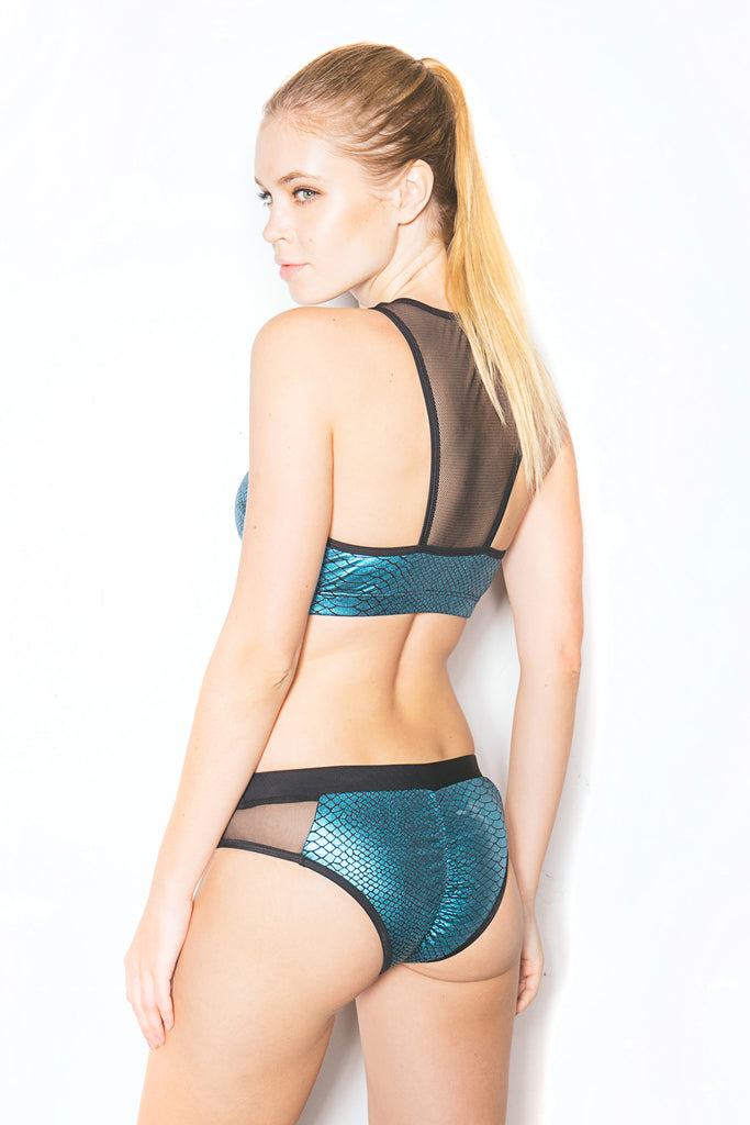 Mermaid Mesh Peek-a-boo Top Turquoise