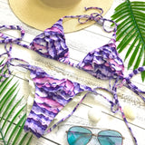 Flirty Fantasy Ruffle Bikini Top - Purple Paint