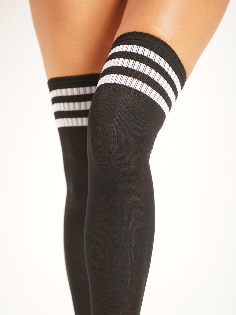 OVER KNEE SOCKS - BLACK/WHITE