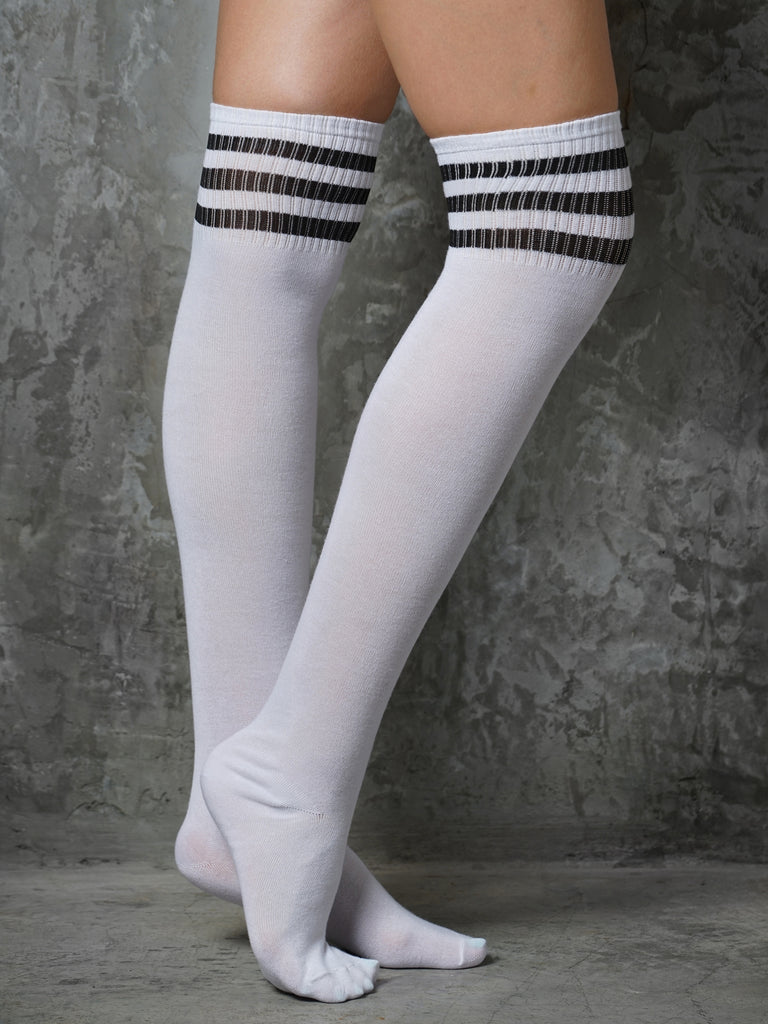 7a62ad0819b OVER KNEE SOCKS - WHITE BLACK – Gale Polewear