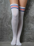 OVER KNEE SOCKS - WHITE/BLUE+RED