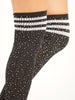 OVER KNEE SOCKS WITH RHINESTONES - BLACK/WHITE