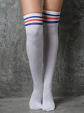 OVER KNEE SOCKS WITH RHINESTONES - WHITE/BLUE+RED