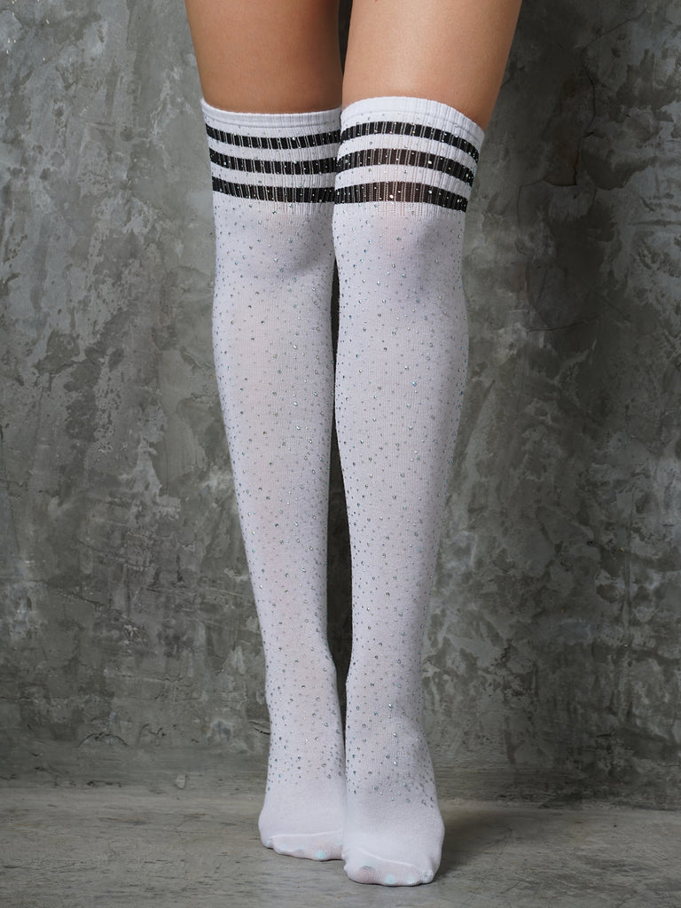 9de497b4701 OVER KNEE SOCKS WITH RHINESTONES - WHITE BLACK – Gale Polewear