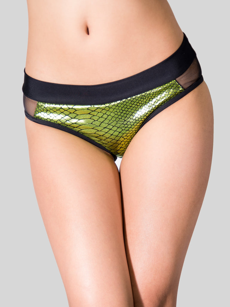 Mermaid Mesh Cheeky Shorts Green
