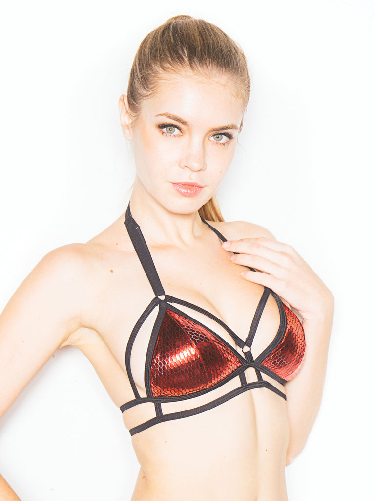 Suspender Bikini Top Red
