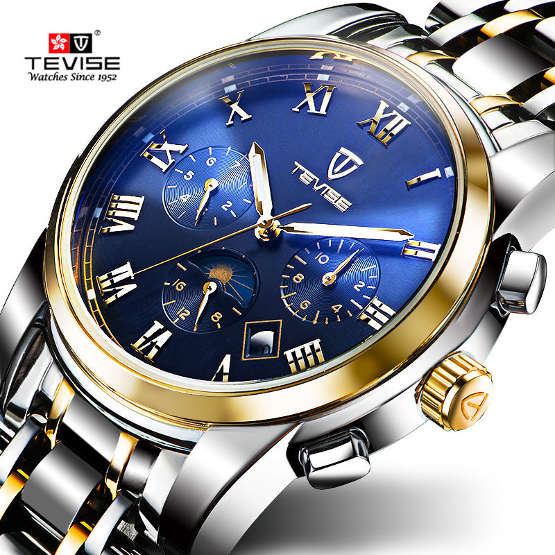 da7eaf43621 Men Watches Top Brand Luxury TEVISE Automatic Mechanical Watches Moon Phase Steel  Clock Mens Wristwatches Relogio