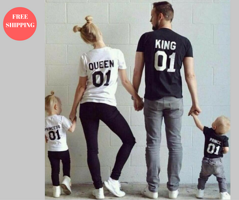 New Family King Queen Letter Print T Shirt - Great Deals and More