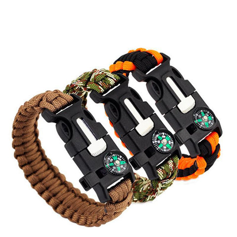 Survival On Your Wrist: Core Survival Paracord Survival Bracelet - Hiking Multi Tool, Emergency Whistle, Compass for Hiking, Camp Fire Starter 5-in 1 Set - Great Deals and More