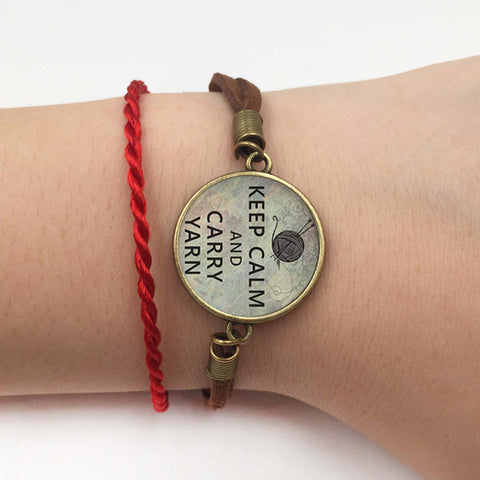"""Keep Calm and Carry Yarn"" Charm Bracelet  - Great Deals and More"