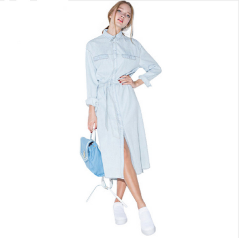 Retro Denim Front Belt Dress - Great Deals and More