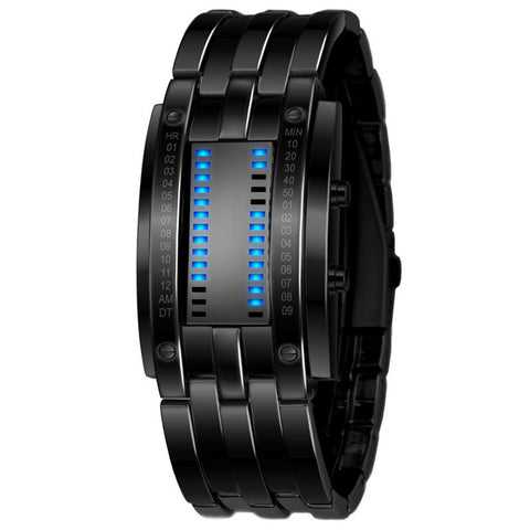 Luxury Unisex Black Stainless Steel LED Watch-Watches-Great Deals and More